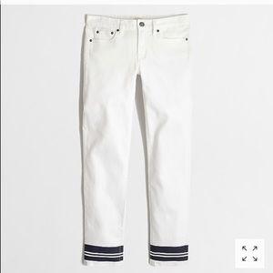 J Crew Grosgrain Striped Hem Skinny Jeans
